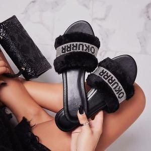 Just In!💎Black Rhinestone OKUUR fur Slide Sandal